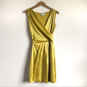 Moschino Cheap and Chic Yellow Green Silk dress